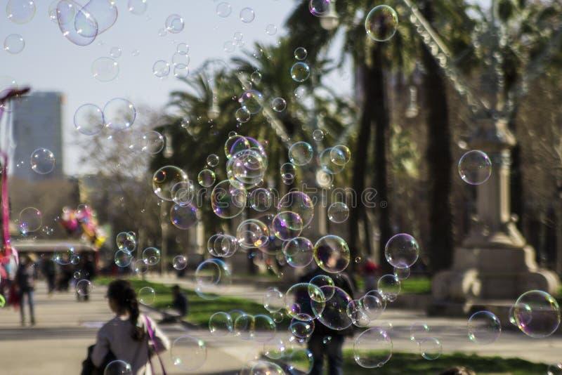 As bolhas de sabão fecham-se acima fotos de stock royalty free