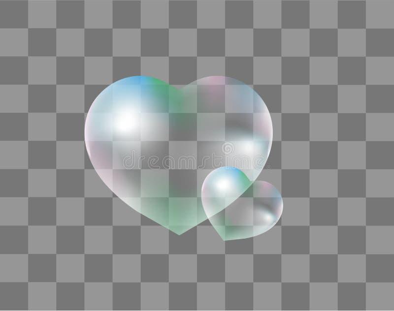 As bolhas de sabão realísticas Coração-deram forma a realístico, estilo 3d isolado em um fundo transparente Gotas da água em um c ilustração royalty free