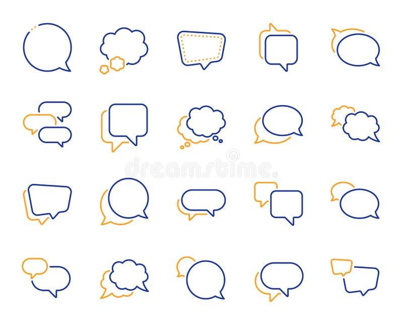 As bolhas do discurso alinham ?cones Mensagem social dos meios, bolhas cômicas e bate-papo Vetor ilustração do vetor