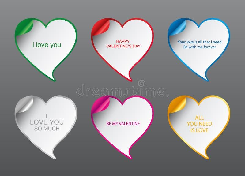 As bolhas do discurso do amor do projeto geométrico do vetor ajustaram-se com canto curvado Cartão romântico do dia do ` s do Val ilustração royalty free
