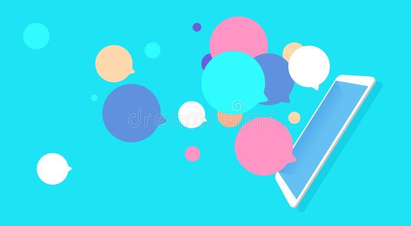 As bolhas móveis do voo do bate-papo da aplicação conectam o plano horizontal das notificações da mensagem ilustração stock