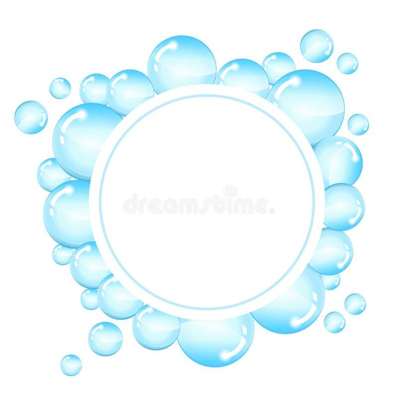 As bolhas moldam para o texto Fundo redondo com bolhas de sabão brilhantes e espaço para o texto ilustração royalty free