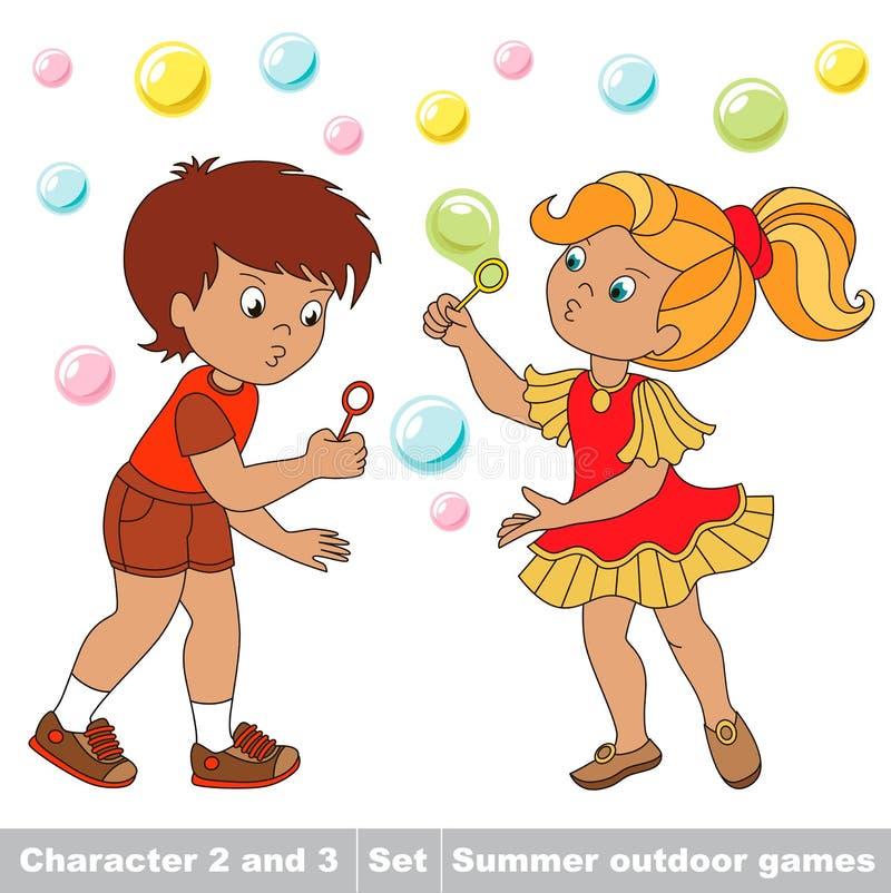 As bolhas voam as duas crianças têm o divertimento ilustração do vetor