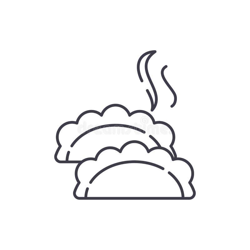 As bolinhas de massa alinham o conceito do ícone Ilustração linear do vetor das bolinhas de massa, símbolo, sinal ilustração stock