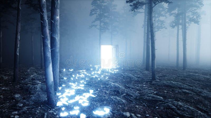 As borboletas de incandescência na floresta da noite da névoa iluminam a porta portal Mistic e conceito mágico 3d rendem ilustração stock