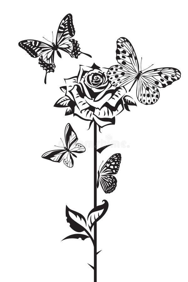 As borboletas e aumentaram ilustração do vetor