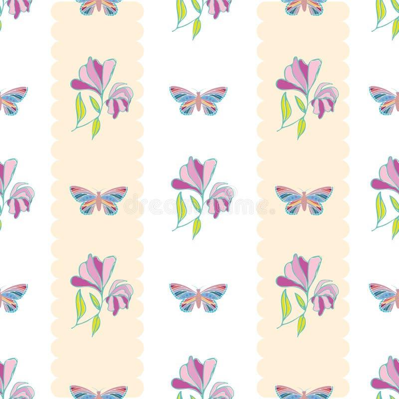 As borboletas e as flores tiradas mão do estilo do vintage projetam Teste padrão geométrico vertical sem emenda do vetor com list ilustração do vetor