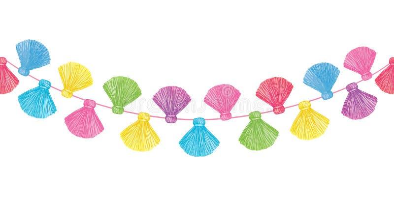 As borlas decorativas coloridas do vetor ajustaram o teste padrão sem emenda horizontal da beira da repetição Grande para cartões ilustração stock