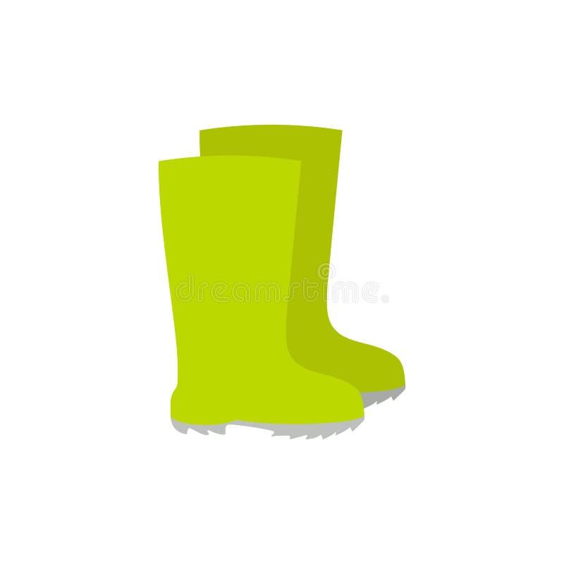 As botas de borracha, botas de chuva, ícone do vetor dos gumboots isolaram-se Ferramenta de jardim no estilo dos desenhos animado ilustração stock