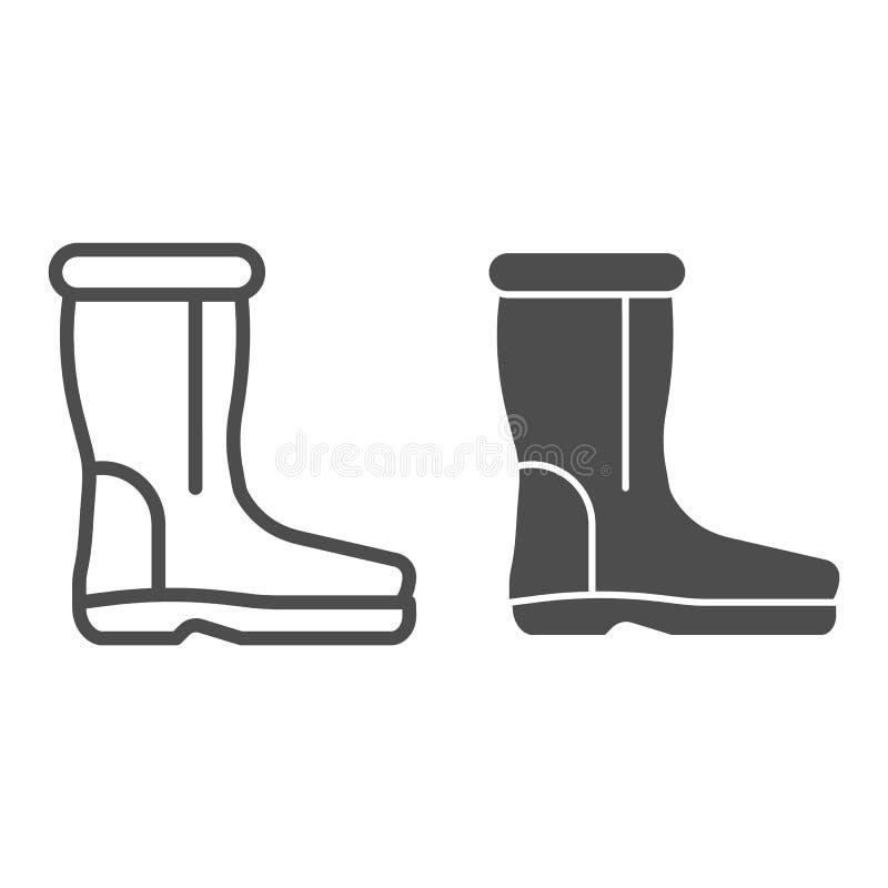 As botas de lãs alinham e o ícone do glyph Ilustração morna do vetor das sapatas isolada no branco Projeto sentido do estilo do e ilustração do vetor