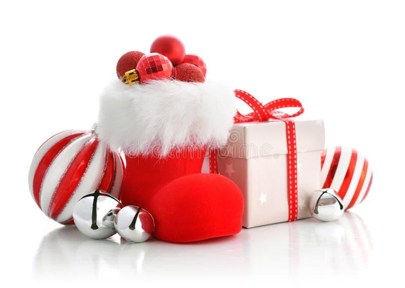As botas de Santa vermelha imagem de stock royalty free