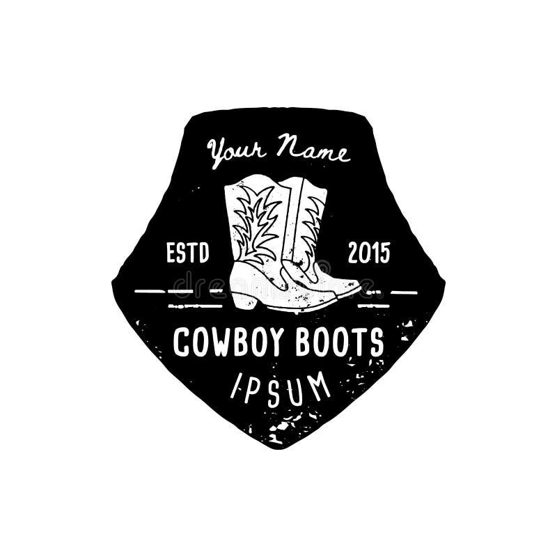 As botas de vaqueiro ocidentais do logotipo entregam o estilo do Grunge da tra??o O s?mbolo ocidental selvagem canta de botas de  ilustração stock