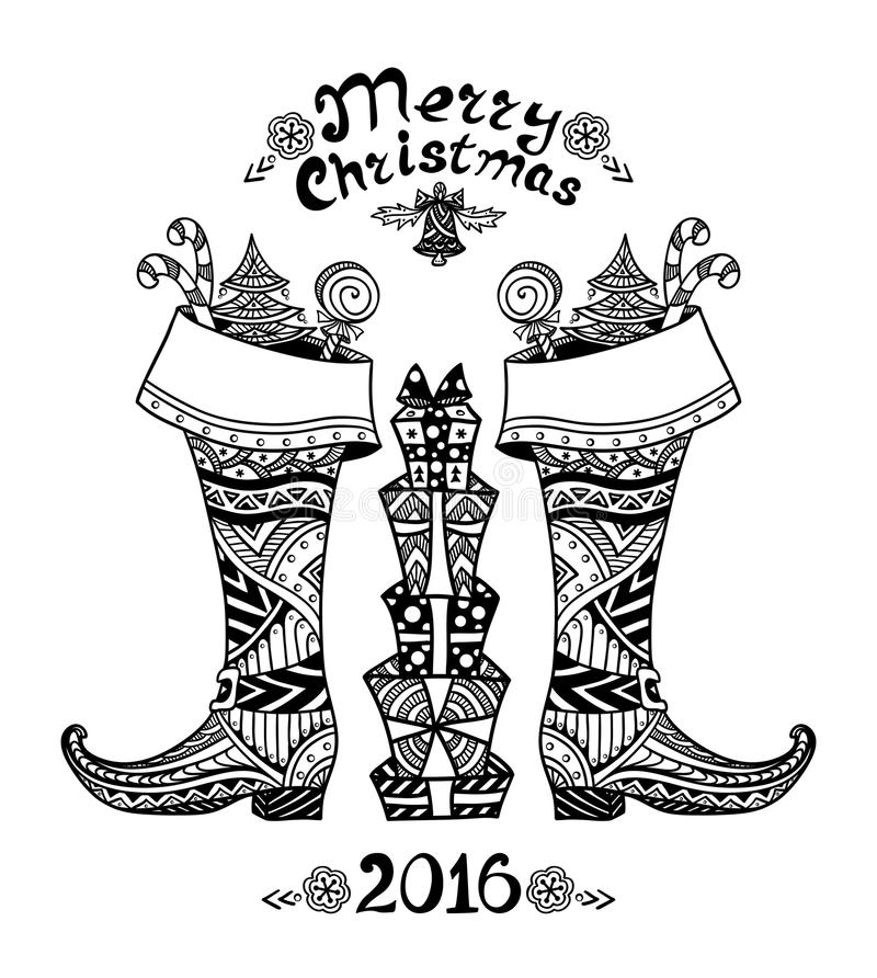 As botas do Natal com pacote do presente na Zen-garatuja denominam o preto no branco ilustração do vetor