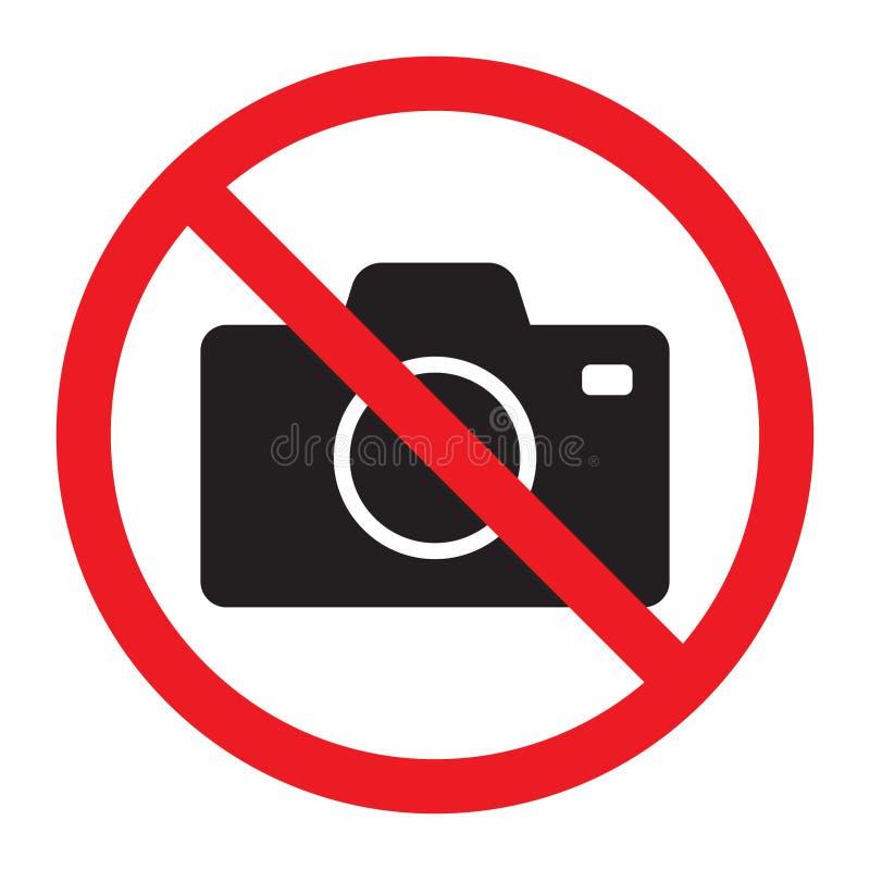 As câmeras do iconNo do vetor da câmera da foto permitiram o sinal Proibição vermelha nenhum sinal da câmera Nenhumas imagens de  ilustração stock