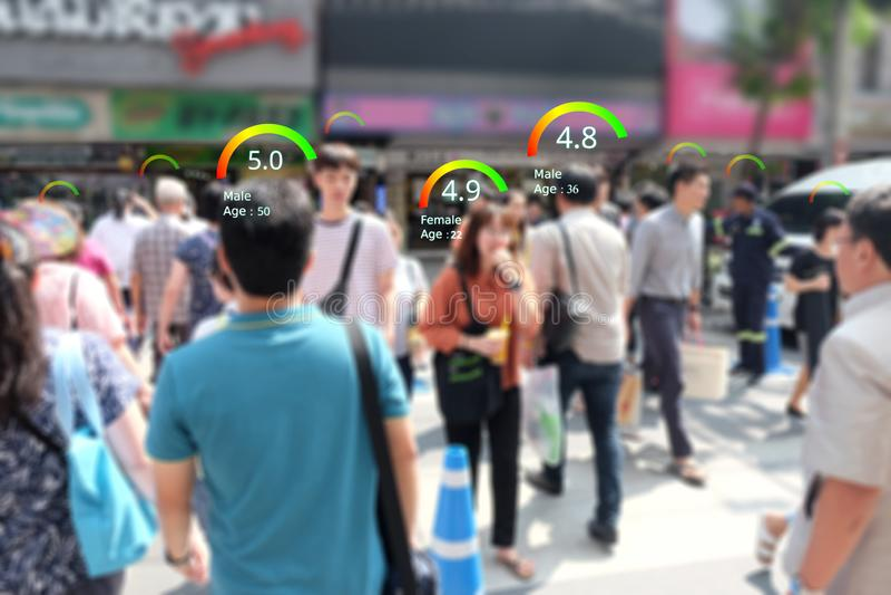 As câmeras espertas do CCTV identificam o conceito social da pontuação de crédito, analítica do AI identificam a tecnologia da pe imagem de stock royalty free