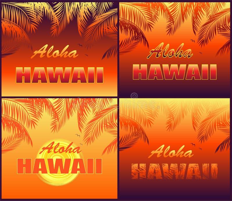 As cópias tropicais quentes da camisa de T ajustaram-se com rotulação de Aloha Hawaii, gaivota, sol, por do sol e as silhuetas al ilustração royalty free