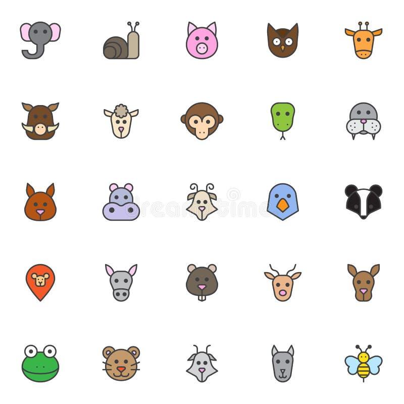 As cabeças dos animais encheram os ícones do esboço ajustados ilustração do vetor