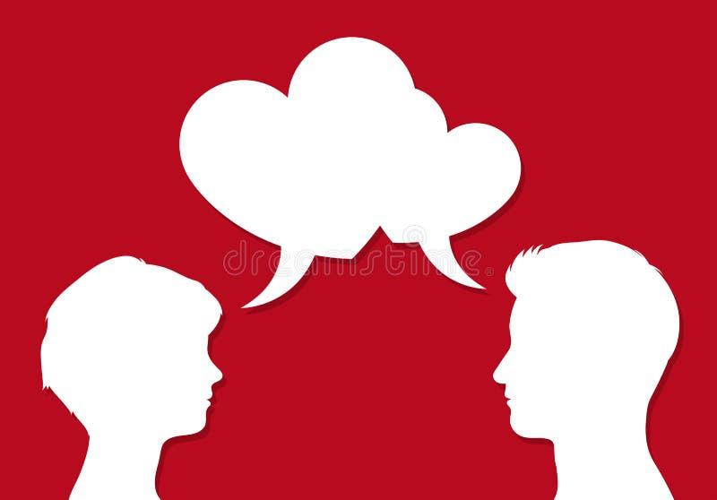 As cabeças masculinas e fêmeas com discurso do coração borbulham ilustração do vetor