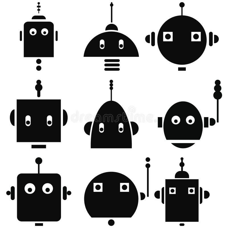 As cabeças retros dos robôs do vintage 2 ícones ajustaram-se em preto e branco ilustração royalty free