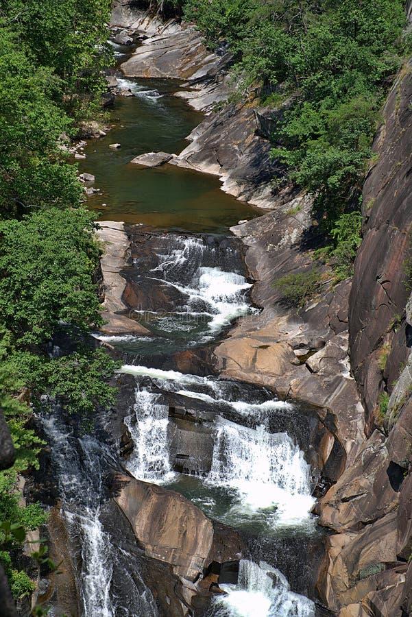 As cachoeiras de conexão em cascata de Talullah fotografia de stock royalty free