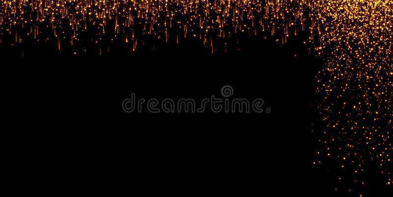 As cachoeiras de partículas douradas do champanhe das bolhas da faísca do brilho stars no fundo preto, feriado do ano novo feliz ilustração do vetor