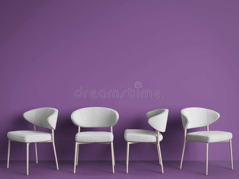 As cadeiras brancas estão estando em uma sala violeta vazia ilustração stock