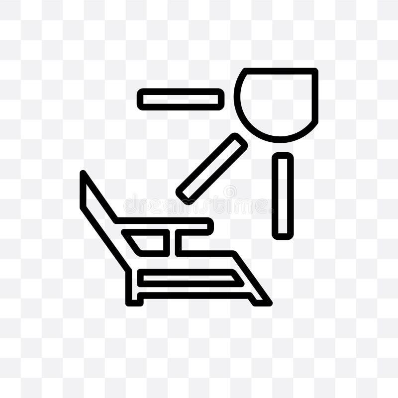 As cadeiras de plataforma e o ícone linear do vetor do sol isolado no fundo, em cadeiras de plataforma e no conceito transparente ilustração do vetor