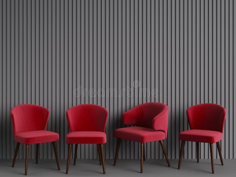 As cadeiras vermelhas estão estando em uma sala cinzenta vazia ilustração stock