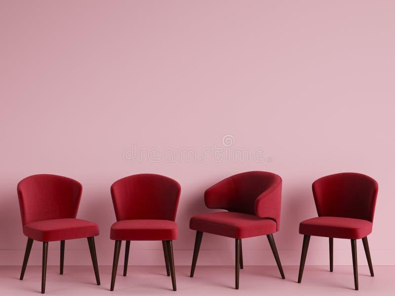 As cadeiras vermelhas estão estando em uma sala cor-de-rosa vazia ilustração royalty free