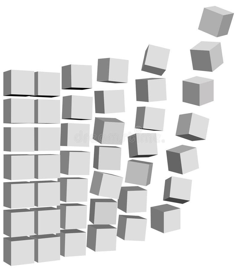 As caixas das caixas dos dados voam & caem acima ilustração royalty free