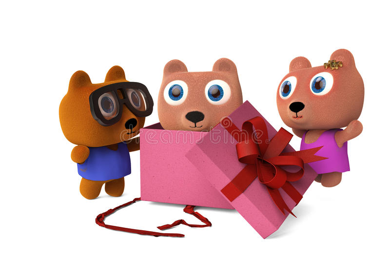 As caixas de presente abertas urso de Papa Bear e da mamãe, veem o bebê carregar, 3D arrancam ilustração do vetor