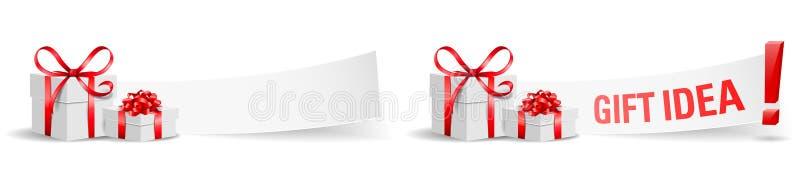 As caixas de presente com grupo de papel da ideia do presente isolaram o vetor ilustração do vetor