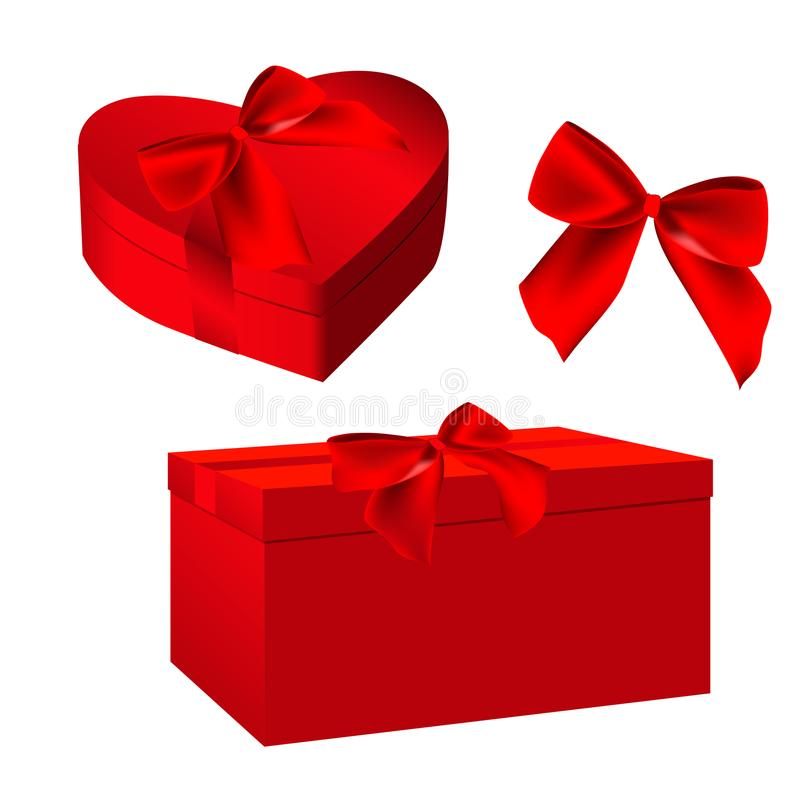 As caixas de presente vermelhas ajustaram-se para projetos do dia do ` s do Valentim Caixa amarrada com fita e curva ou corda ver ilustração stock
