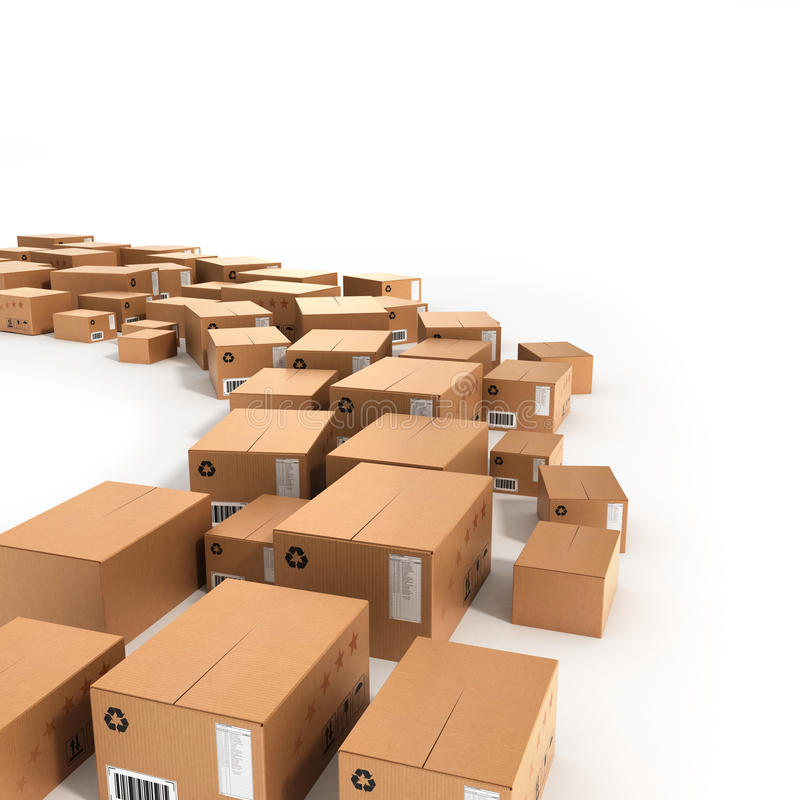As caixas de tamanho diferentes são apresentadas em seguido ao longo do trajeto ilustração royalty free
