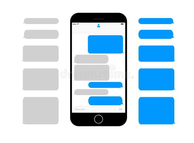 As caixas de texto da mensagem da tela do telefone celular esvaziam bolhas ilustração royalty free