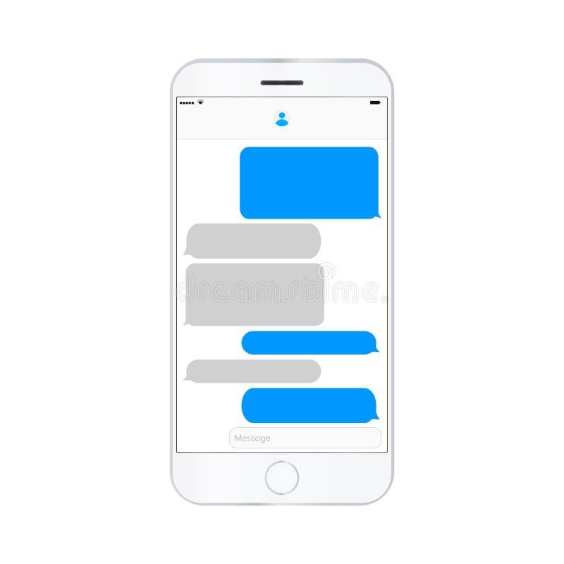 As caixas de texto da mensagem da tela do telefone celular esvaziam bubles ilustração do vetor