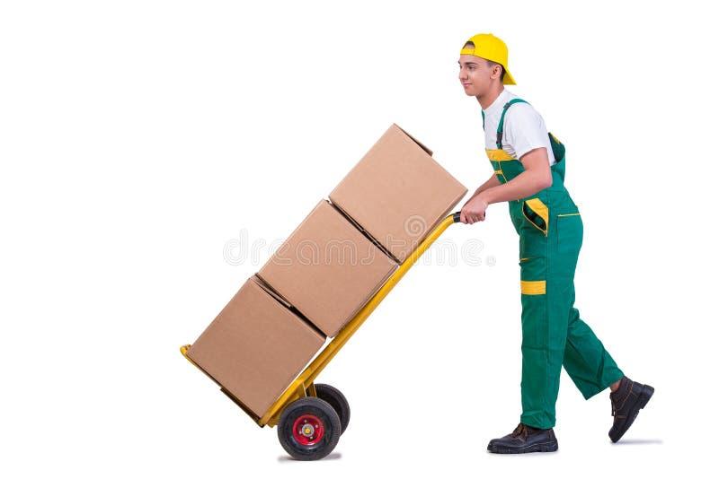 As caixas moventes do homem novo com o carro isolado no branco fotografia de stock
