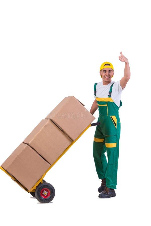 As caixas moventes do homem novo com o carro isolado no branco foto de stock royalty free
