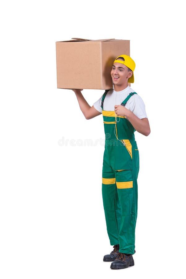 As caixas moventes do homem novo isoladas no branco imagem de stock royalty free