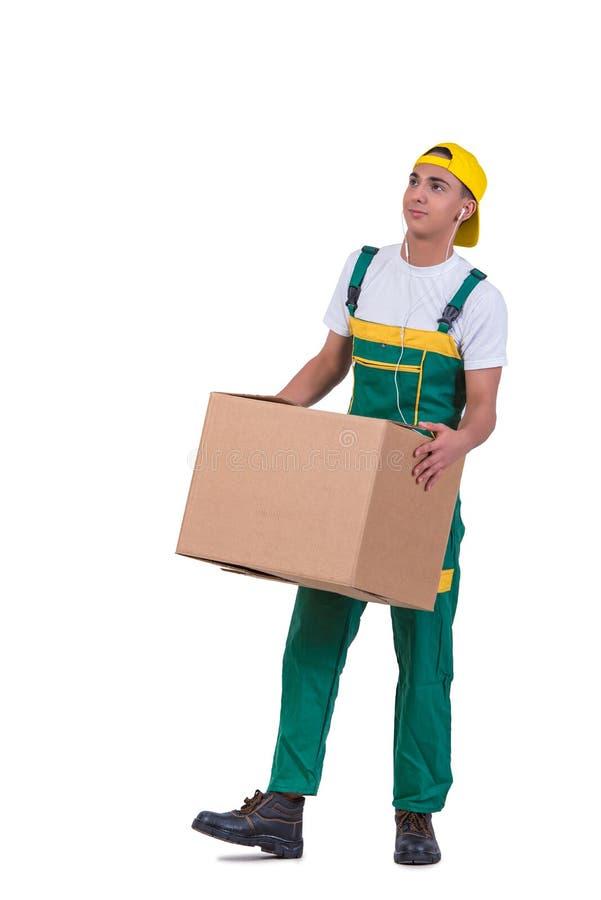 As caixas moventes do homem novo isoladas no branco imagens de stock