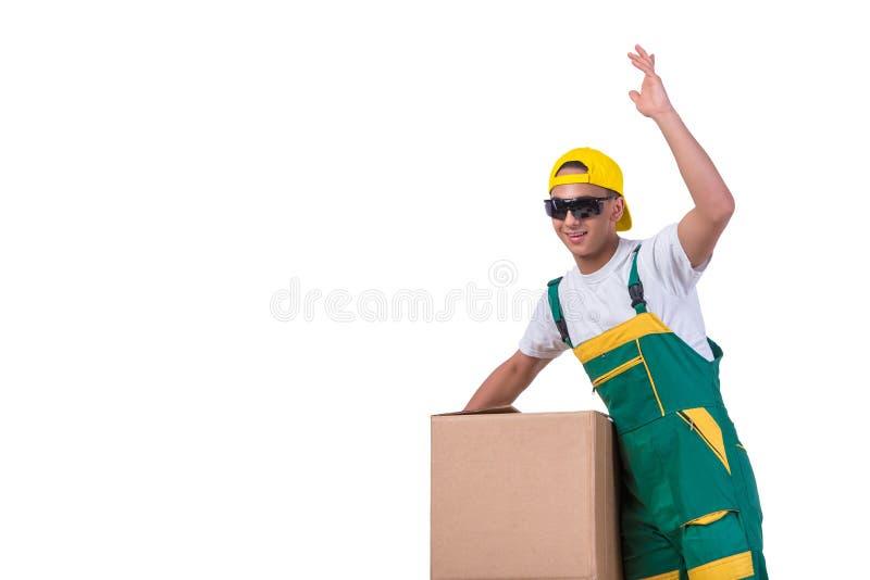 As caixas moventes do homem novo isoladas no branco foto de stock royalty free