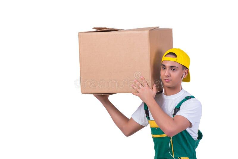 As caixas moventes do homem novo isoladas no branco imagens de stock royalty free