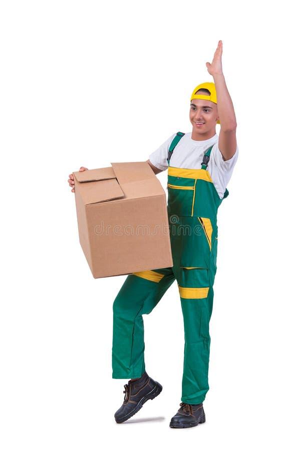 As caixas moventes do homem novo isoladas no branco imagem de stock