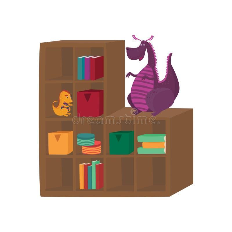 As caixas, os livros e os brinquedos coloridos do dragão no armário arquivam a ilustração do vetor dos desenhos animados ilustração royalty free