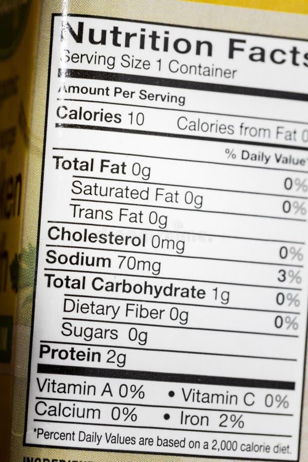 As calorias da dieta totalizam açúcares gordos da proteína etiquetam a nutrição fotos de stock