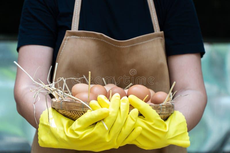 As camisas pretas do roupa de senhora do fazendeiro e para vestir luvas de borracha amarelas e o avental marrom estão guardando o foto de stock