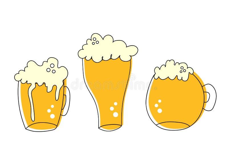 As caneca para cerveja da pinta do esboço ajustaram-se da cerveja espumoso isolada no fundo branco, apropriado para o bar, Oktobe ilustração royalty free