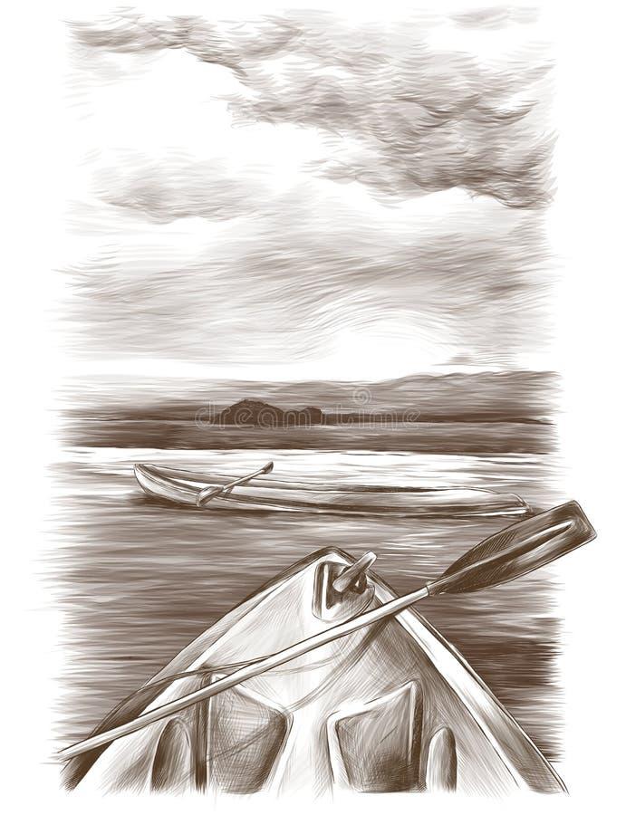 As canoas flutuam na água uma estão lateralmente a segunda somente parte dianteira visível ilustração stock