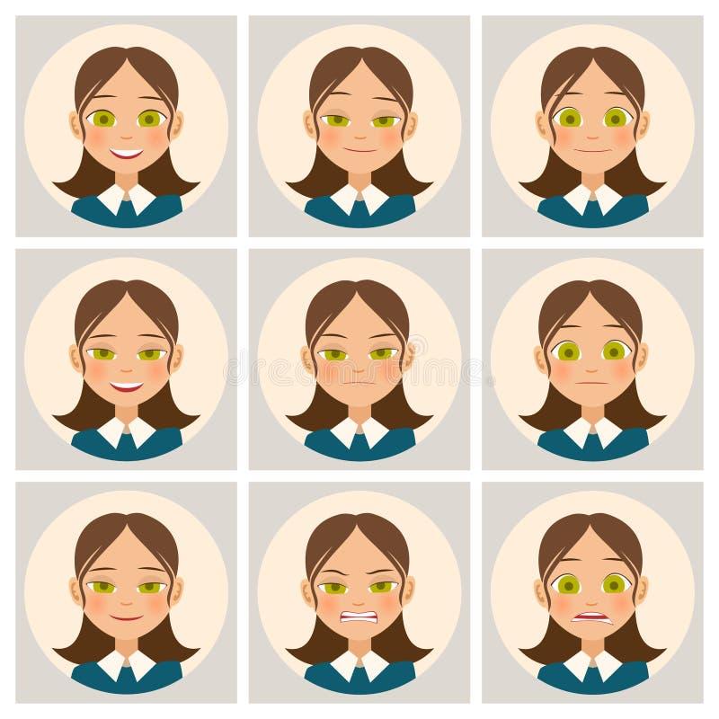 As caras das mulheres A cara da mulher com emoções diferentes Vetor ilustração do vetor