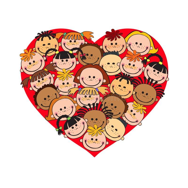 As caras do bebê dos desenhos animados no coração deram forma à cara do vetor do quadro, amor, sorriso, ilustração, infância, cri ilustração stock